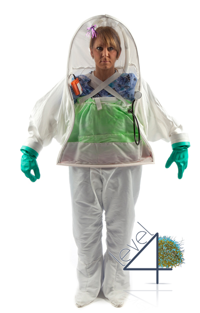 Ebola Personal Biohazard Protective Coveralls for healthcare workers, doctors, and nurses working with patients infected with the Ebola virus and other Level 3 and 4 Biosafety level diseases.