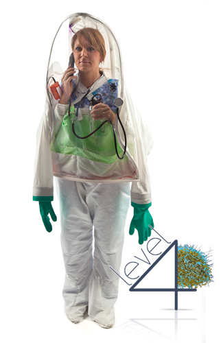 Ebola Personal Biohazard Protective Suit for healthcare workers, doctors, and nurses working with patients infected with the Ebola virus and other Level 3 and 4 Biosafety level diseases.